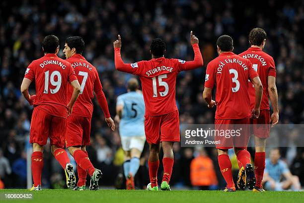 Daniel Sturridge of Liverpool celebrates after scoring during the Barclays Premier League match between Manchester City and Liverpool at Etihad...