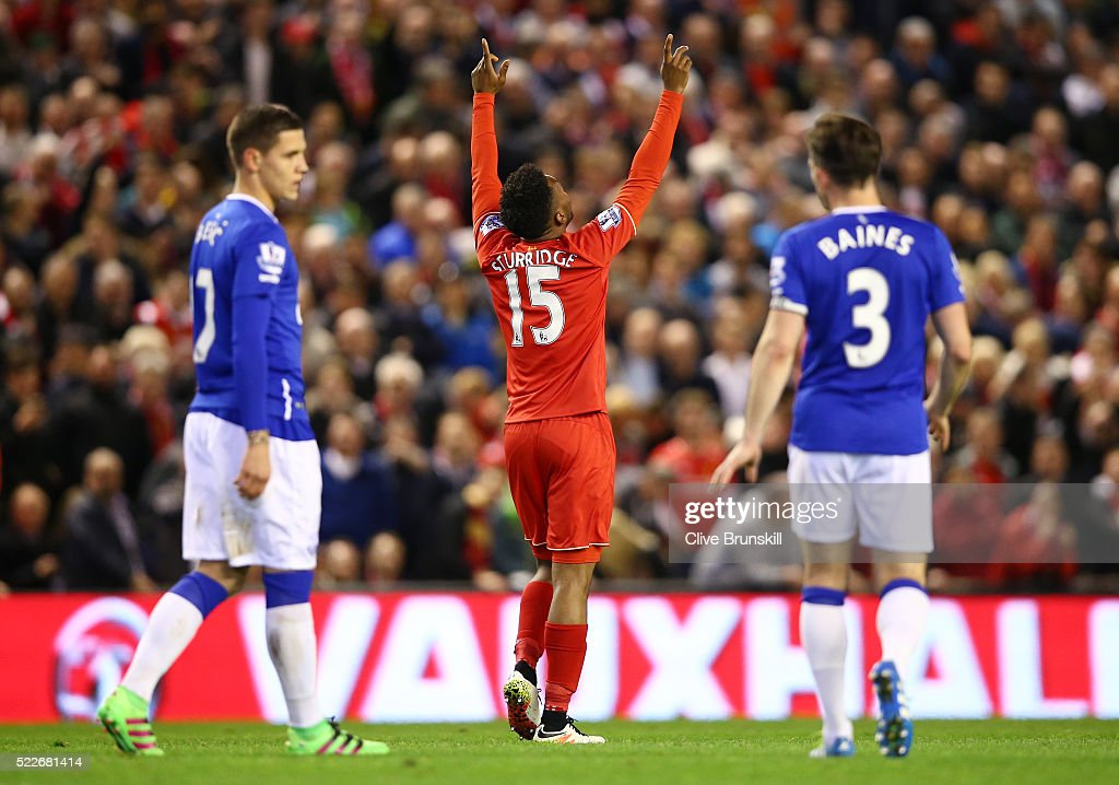 Daniel Sturridge of Liverpool celebrates after scoring his sides third goal during the Barclays Premier League match between Liverpool and Everton at Anfield, April 20, 2016, Liverpool, England