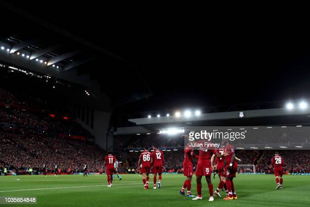 Daniel Sturridge of Liverpool celebrates after scoring his team's first goal during the Group C match of the UEFA Champions League between Liverpool...