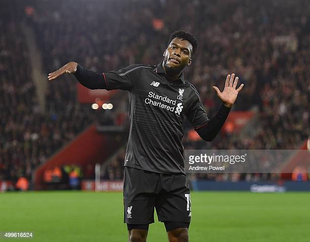 Daniel Sturridge of Liverpool celebrates after scoring the equalising goal during the Capital One Cup Quarter Final match between Southampton and...