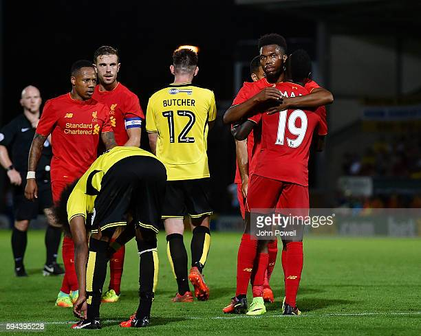 Daniel Sturridge of Liverpool celebrates after scoring the fifth during the EFL Cup match between Burton Albion and Liverpool at the Pirelli Stadium...