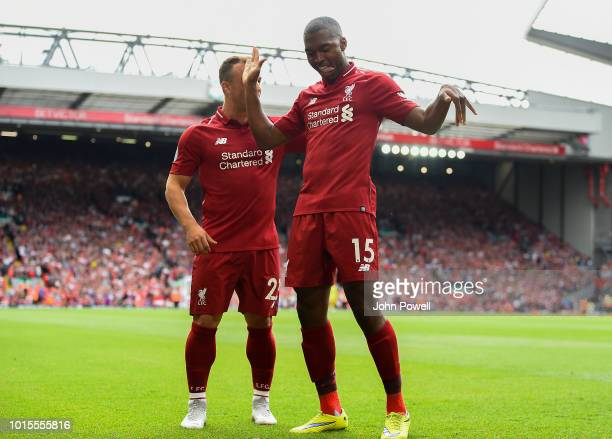 Daniel Sturridge of Liverpool celebrates after scoring the fourth goal during the Premier League match between Liverpool FC and West Ham United at...