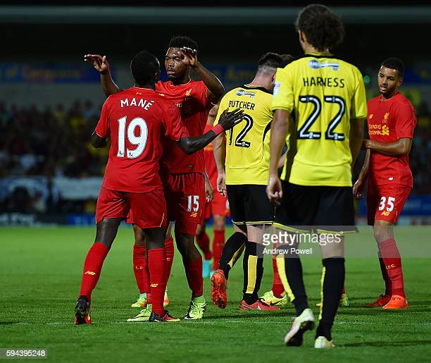 Daniel Sturridge of Liverpool celebrates after scoring the fourth during the EFL Cup match between Burton Albion and Liverpool at the Pirelli Stadium...