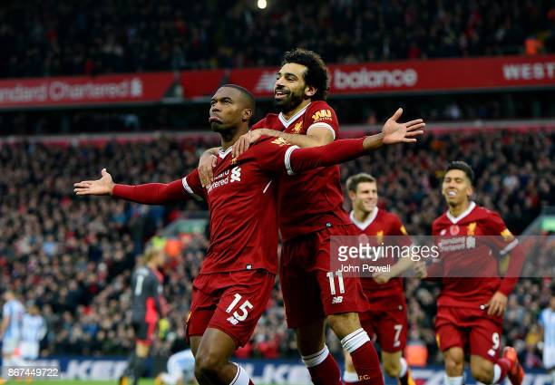 Daniel Sturridge of Liverpool celebrates after scoring the opener during the Premier League match between Liverpool and Huddersfield Town at Anfield...