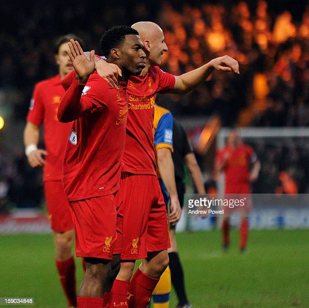 Daniel Sturridge of Liverpool celebrates after scoring the opening goal during the FA Cup Third Round match between Mansfield Town and Liverpool at...
