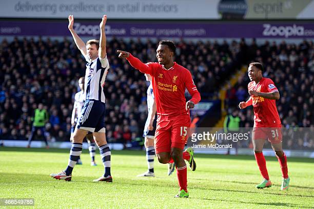 Daniel Sturridge of Liverpool celebrates after scoring the opening goal during the Barclays Premier League match between West Bromwich Albion and...