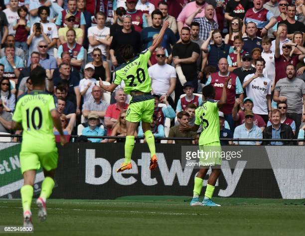 Daniel Sturridge of Liverpool celebrates after scoring the opening goal during the Premier League match between West Ham United and Liverpool at...