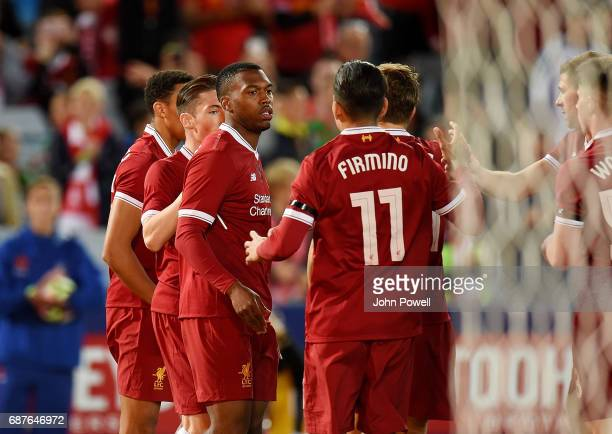 Daniel Sturridge of Liverpool celebrates after scoring the opening goal during the International Friendly match between Sydney FC and Liverpool FC at...