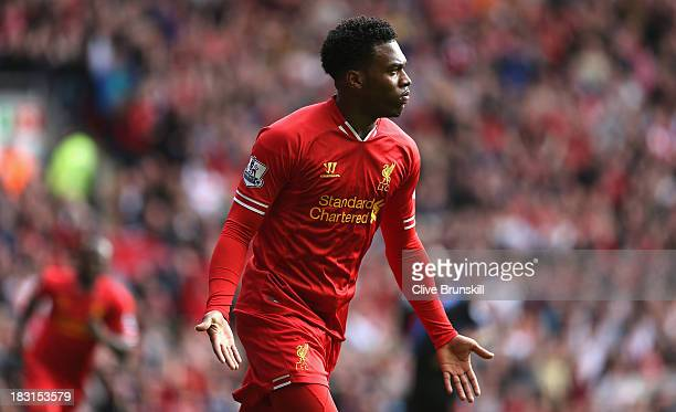 Daniel Sturridge of Liverpool celebrates after scoring the second goal during the Barclays Premier League match between Liverpool and Crystal Palace...
