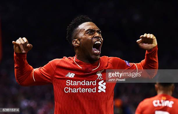 Daniel Sturridge of Liverpool celebrates after scoring the second during the UEFA Europa League Semi Final Second Leg match between Liverpool and...