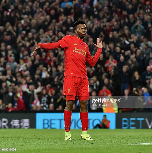 Daniel Sturridge of Liverpool celebrates after scoring the second goal during the EFL Cup fourth round match between Liverpool and Tottenham Hotspur...
