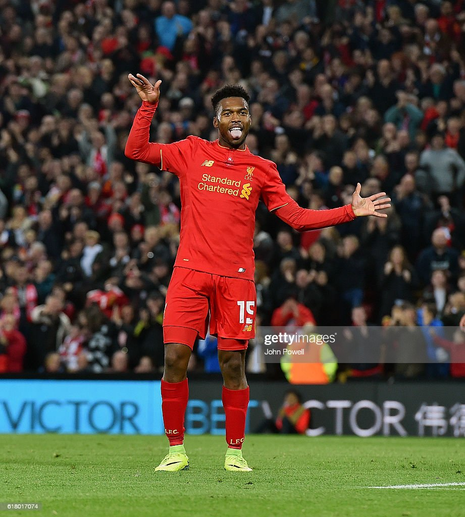 Daniel Sturridge of Liverpool celebrates after scoring the second goal during the EFL Cup fourth round match between Liverpool and Tottenham Hotspur at Anfield on October 25, 2016 in Liverpool, England.