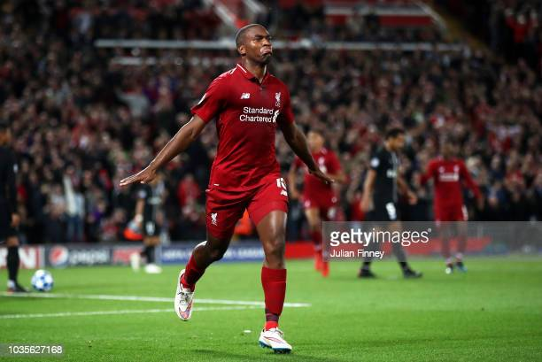 Daniel Sturridge of Liverpool celebrates as he scores his team's first goal during the Group C match of the UEFA Champions League between Liverpool...