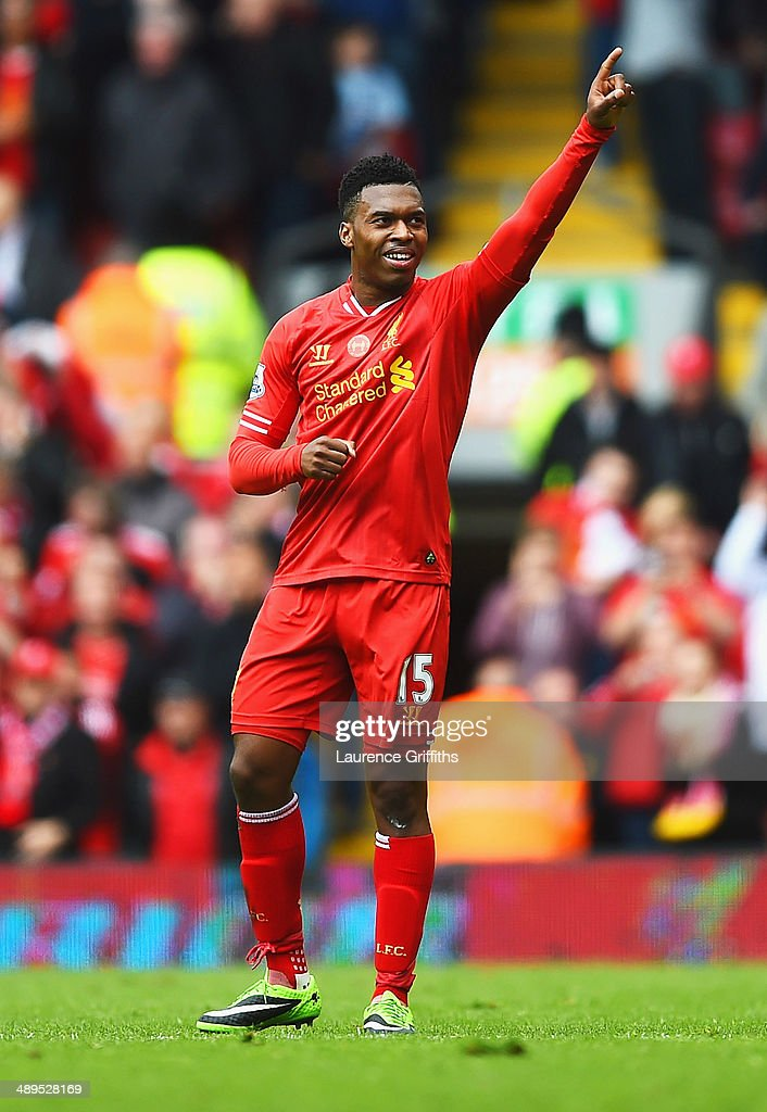 Daniel Sturridge of Liverpool celebrates as he scores their second goal during the Barclays Premier League match between Liverpool and Newcastle United at Anfield on May 11, 2014 in Liverpool, England.