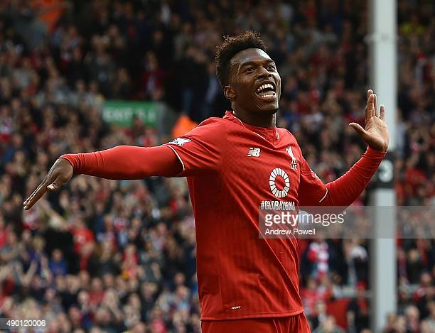 Daniel Sturridge of Liverpool celebrates his first goal during the Barclays Premier League match between Liverpool and Aston Villa on September 26...