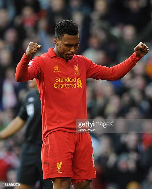 Daniel Sturridge of Liverpool celebrates his goal during the Barclays Premier League match between Liverpool and Swansea City at Anfield on February...