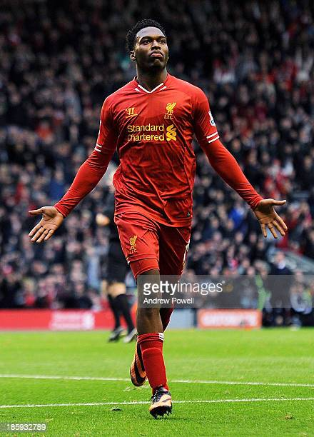 Daniel Sturridge of Liverpool celebrates his goal during the Barclays Premier League match between Liverpool and West Bromwich Albion at Anfield on...