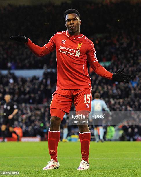 Daniel Sturridge of Liverpool celebrates his goal during the Barclays Premier League match between Liverpool and West Ham United at Anfield on...