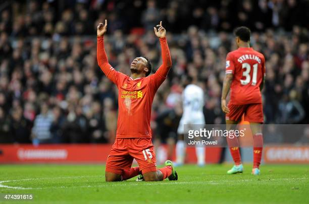Daniel Sturridge of Liverpool celebrates his second goal during the Barclays Premier League match between Liverpool and Swansea City at Anfield on...
