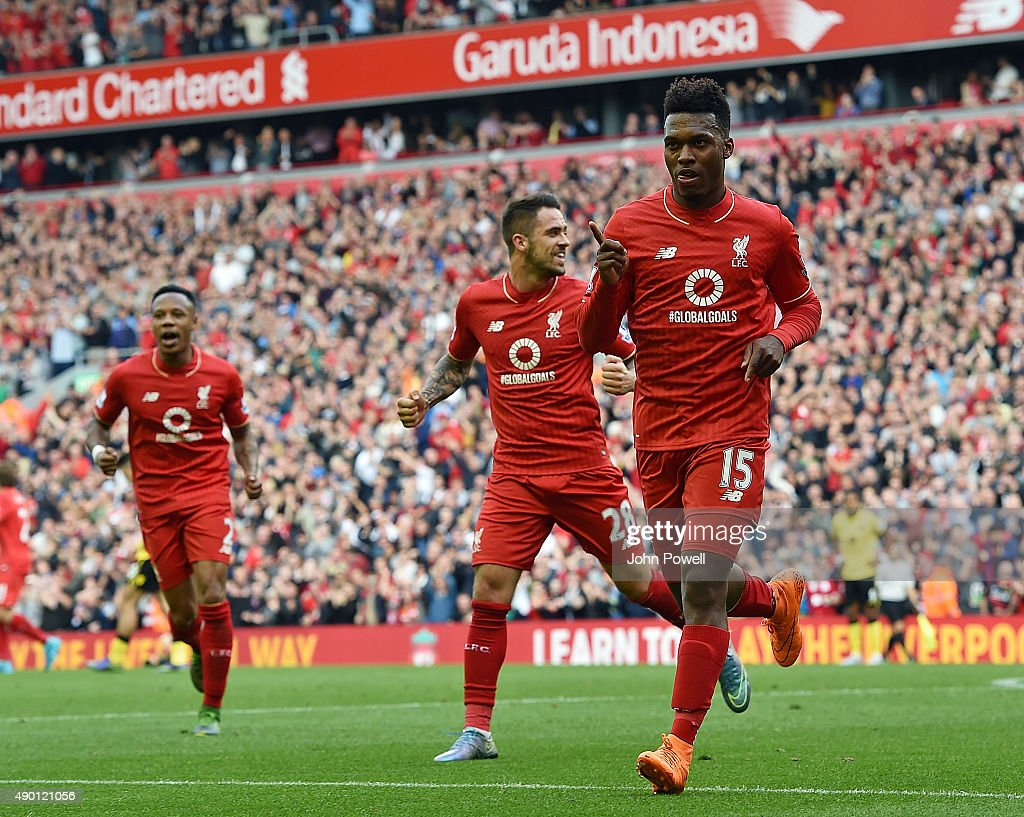 Daniel Sturridge of Liverpool celebrates his second goal during the Barclays Premier League match between Liverpool and Aston Villa on September 26, 2015 in Liverpool, United Kingdom.