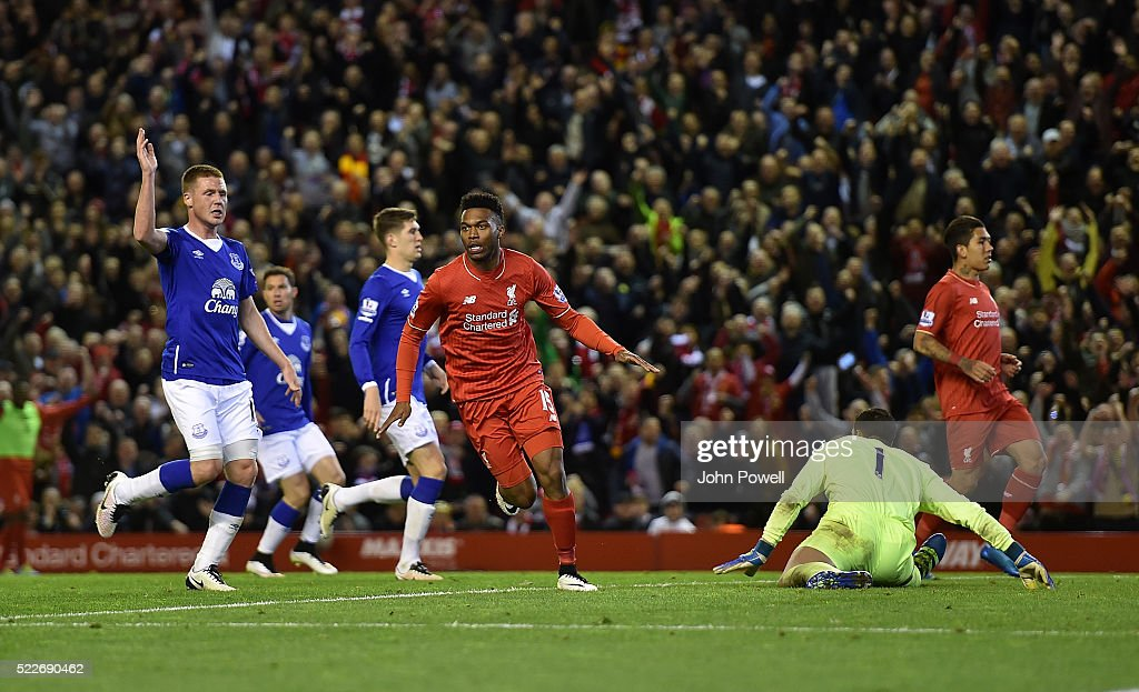 Daniel Sturridge of Liverpool celebrates scoring a goal during the Barclays Premier League match between Liverpool and Everton at Anfield on April 20, 2016 in Liverpool, England