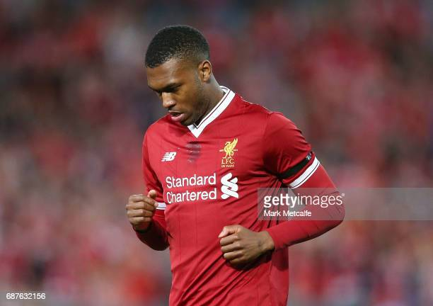 Daniel Sturridge of Liverpool celebrates scoring a goal with during the International Friendly match between Sydney FC and Liverpool FC at ANZ...