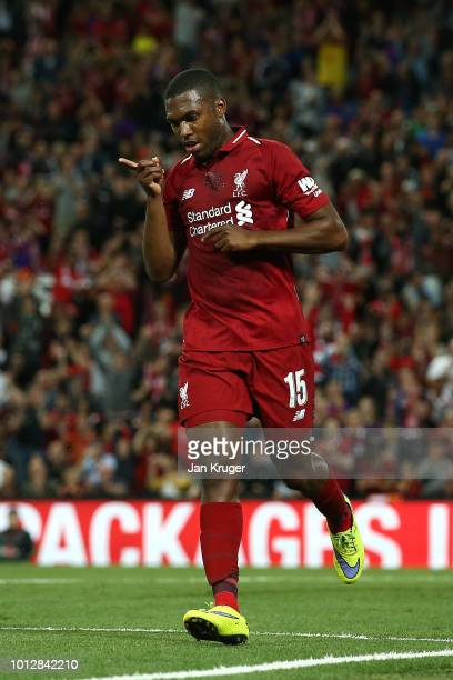 Daniel Sturridge of Liverpool celebrates scoring his sides 3rd goal during the preseason friendly match between Liverpool and Torino at Anfield on...