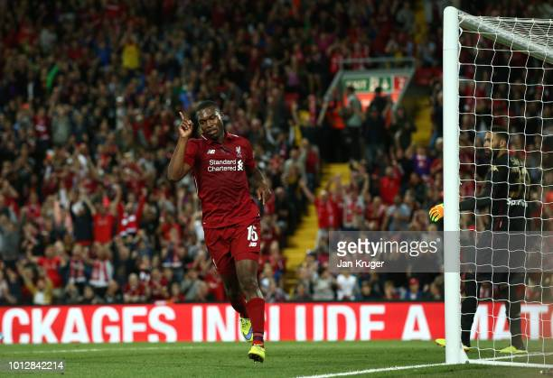 Daniel Sturridge of Liverpool celebrates scoring his sides 3rd goal during the pre-season friendly match between Liverpool and Torino at Anfield on...