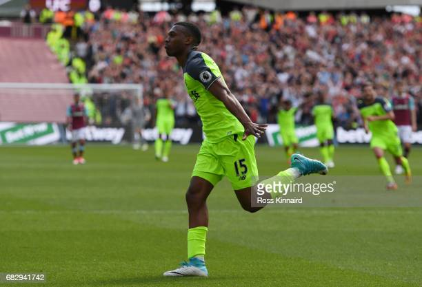 Daniel Sturridge of Liverpool celebrates scoring his sides first goal during the Premier League match between West Ham United and Liverpool at London...