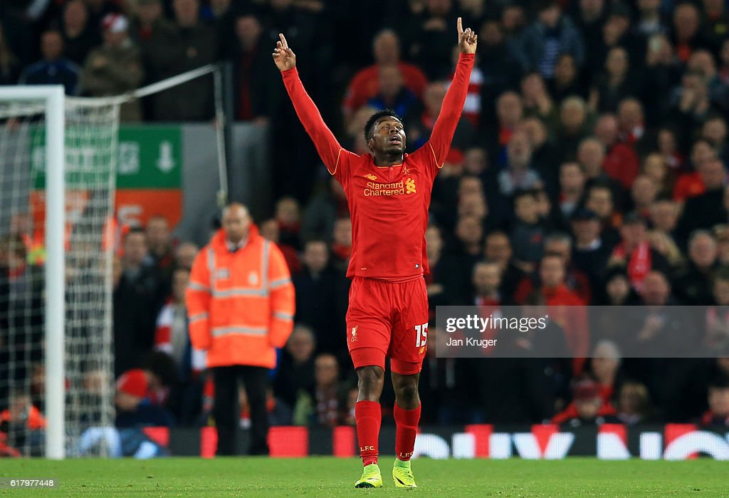 Daniel Sturridge of Liverpool celebrates scoring his sides second goal during the EFL Cup fourth round match between Liverpool and Tottenham Hotspur at Anfield on October 25, 2016 in Liverpool, England.