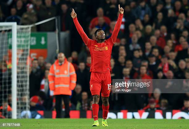 Daniel Sturridge of Liverpool celebrates scoring his sides second goal during the EFL Cup fourth round match between Liverpool and Tottenham Hotspur...