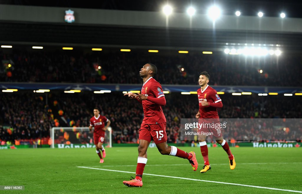 Daniel Sturridge of Liverpool celebrates scoring his sides third goal during the UEFA Champions League group E match between Liverpool FC and NK Maribor at Anfield on November 1, 2017 in Liverpool, United Kingdom.