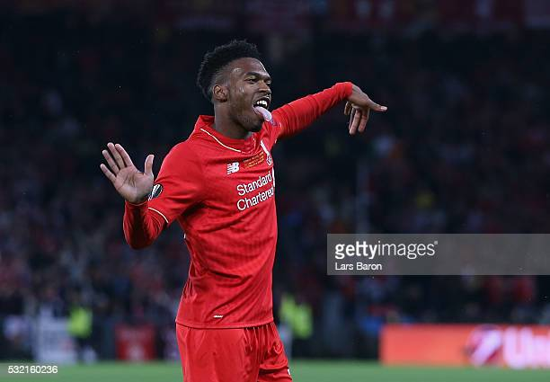 Daniel Sturridge of Liverpool celebrates scoring his team's first goal during the UEFA Europa League Final match between Liverpool and Sevilla at St....