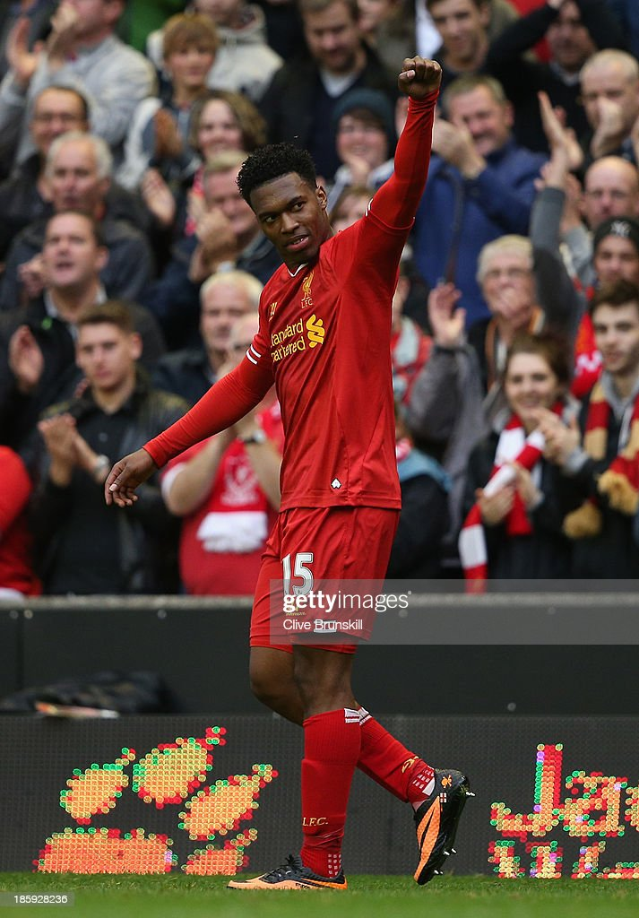 Daniel Sturridge of Liverpool celebrates scoring his team''s fourth goal during the Barclays Premier League match between Liverpool and West Bromwich Albion at Anfield on October 26, 2013 in Liverpool, England.
