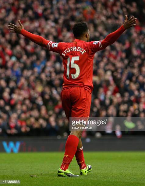 Daniel Sturridge of Liverpool celebrates scoring the first goal during the Barclays Premier League match between Liverpool and Swansea City at...