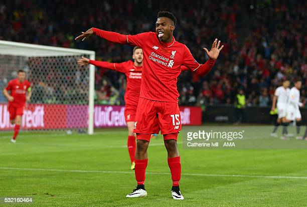 Daniel Sturridge of Liverpool celebrates scoring the first goal to make the score 1-0 during the UEFA Europa League Final between Liverpool and...