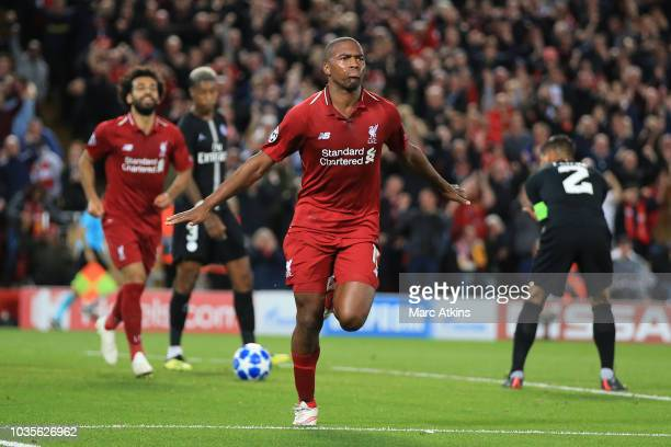 Daniel Sturridge of Liverpool celebrates scoring the opening goal during the Group C match of the UEFA Champions League between Liverpool and Paris...