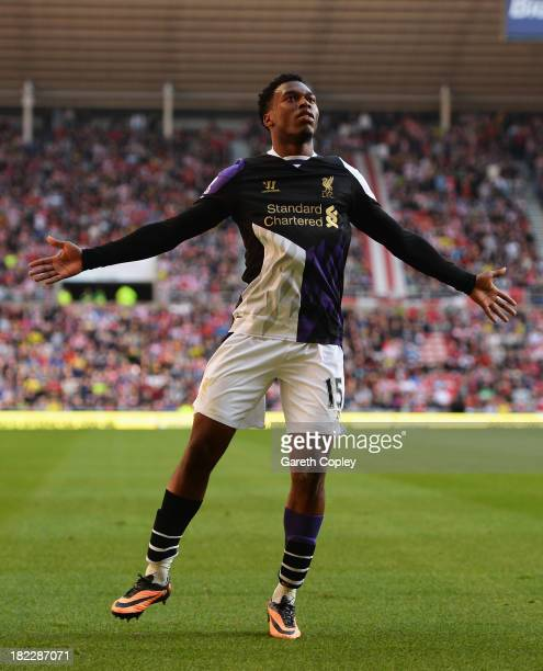Daniel Sturridge of Liverpool celebrates scoring the opening goal during the Barclays Premier League match between Sunderland and Liverpool at the...