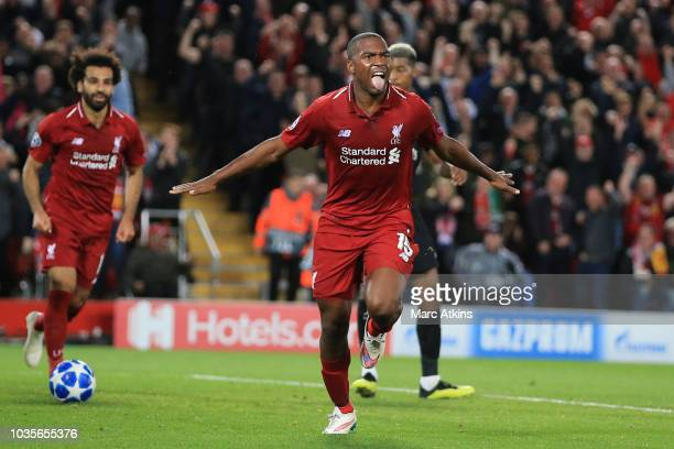 Daniel Sturridge of Liverpool celebrates scoring their 1at goal during the Group C match of the UEFA Champions League between Liverpool and Paris...