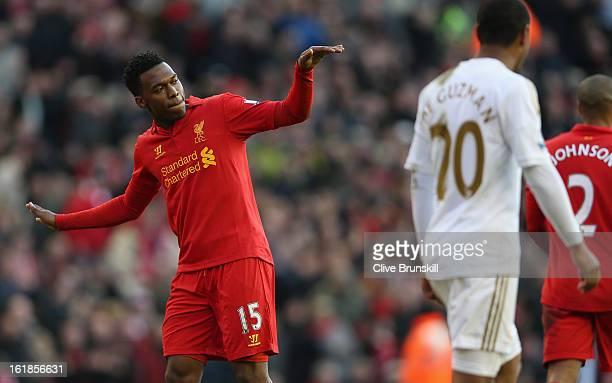Daniel Sturridge of Liverpool celebrates with a dance after scoring the fifth goal from the penalty spot during the Barclays Premier League match...