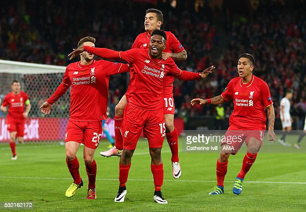 Daniel Sturridge of Liverpool celebrates with his teammates after scoring the first goal to make the score 10 during the UEFA Europa League Final...