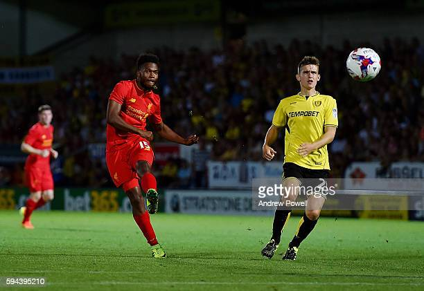 Daniel Sturridge of Liverpool comes close during the EFL Cup match between Burton Albion and Liverpool at the Pirelli Stadium on August 23 2016 in...