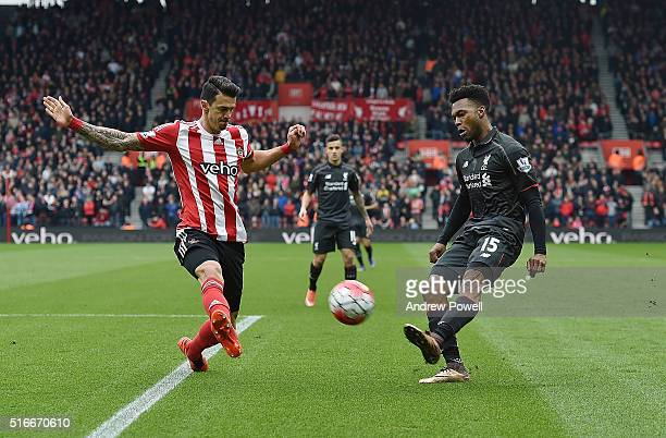 Daniel Sturridge of Liverpool competes with Jose Fonte of Southampton during the Barclays Premier League match between Southampton and Liverpool at...