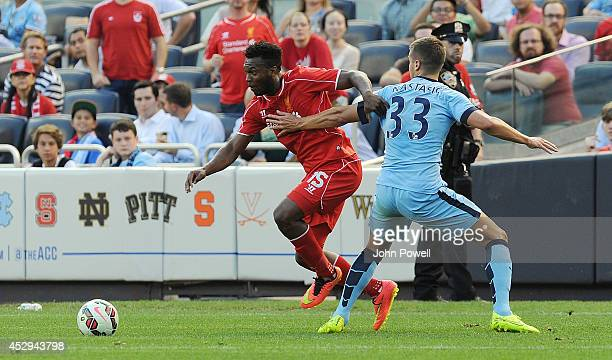 Daniel Sturridge of Liverpool competes with Matjia Nastasic of Manchester City during the International Champions Cup 2014 match between Manchester...