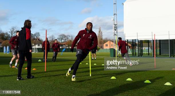 Daniel Sturridge of Liverpool during a training session at Melwood training ground on February 18 2019 in Liverpool England