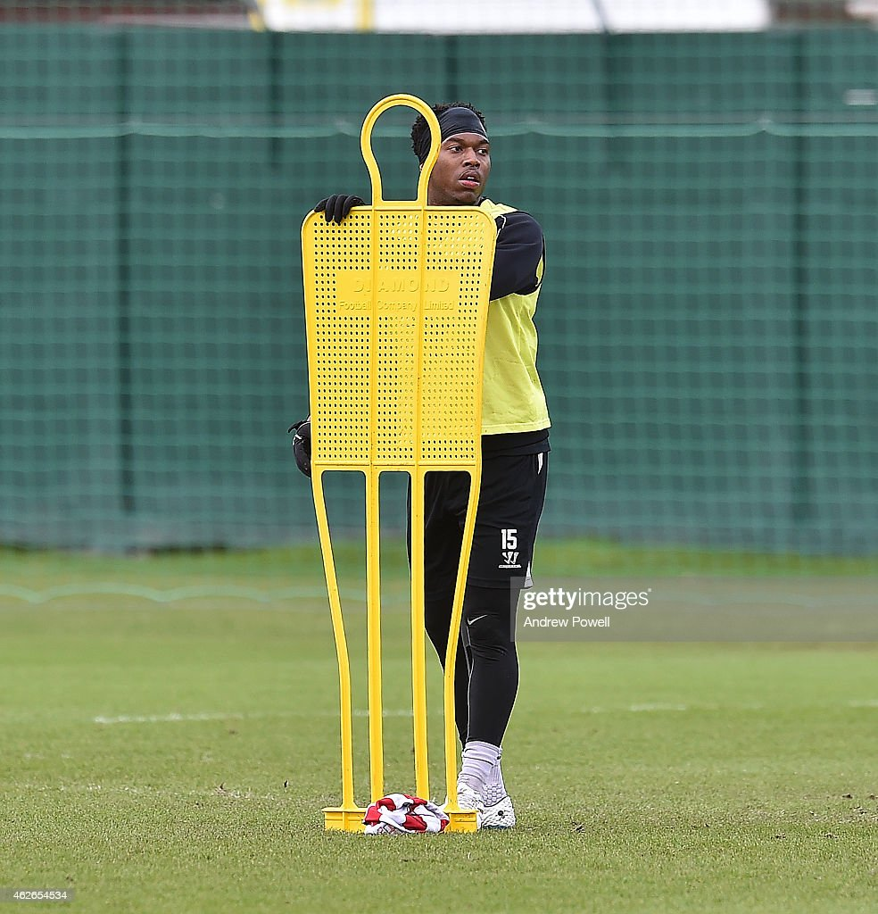 Daniel Sturridge of Liverpool during a training session at Melwood Training Ground on February 2, 2015 in Liverpool, England.