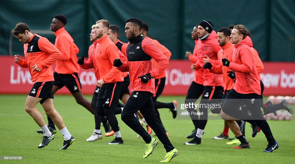 Daniel Sturridge of Liverpool during a training session at Melwood Training Ground on January 6, 2017 in Liverpool, England.