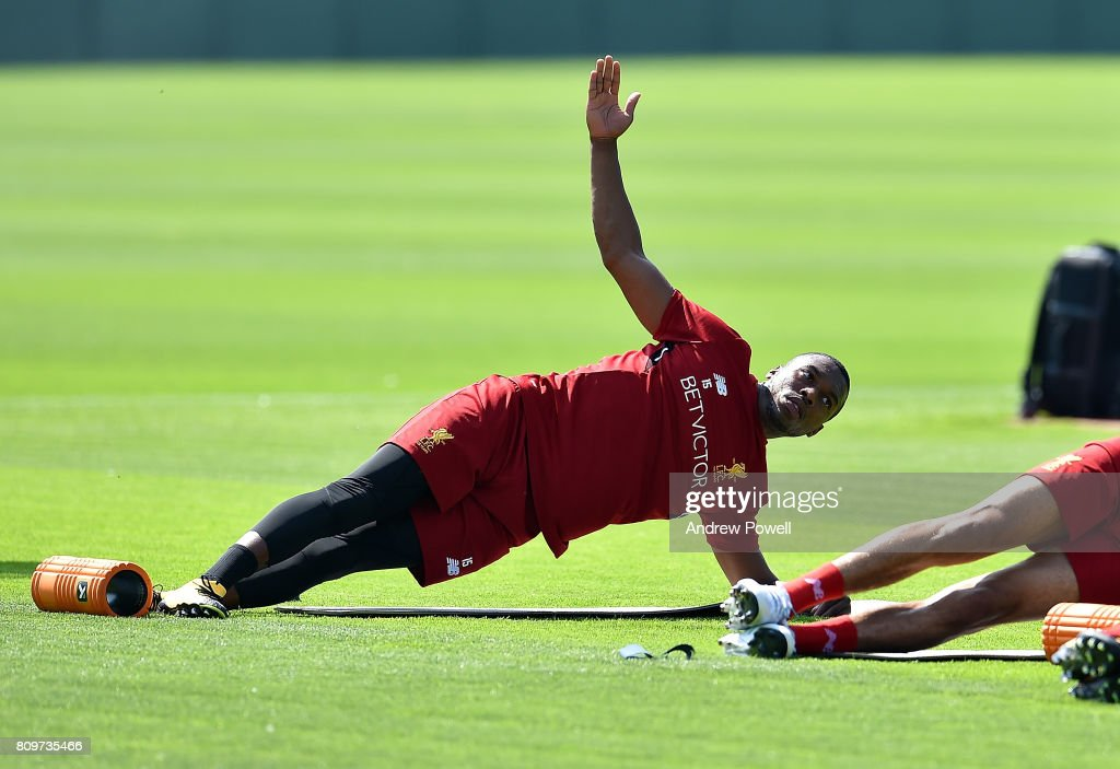 Daniel Sturridge of Liverpool during a training session at Melwood Training Ground on July 6, 2017 in Liverpool, England.