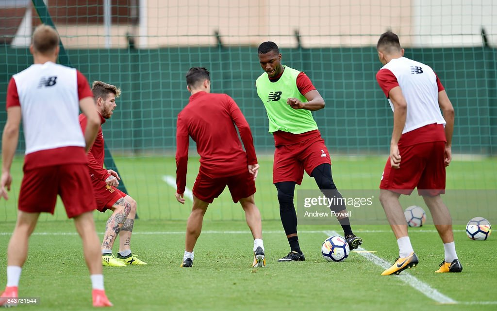 Daniel Sturridge of Liverpool during a training session at Melwood Training Ground on September 7, 2017 in Liverpool, England.