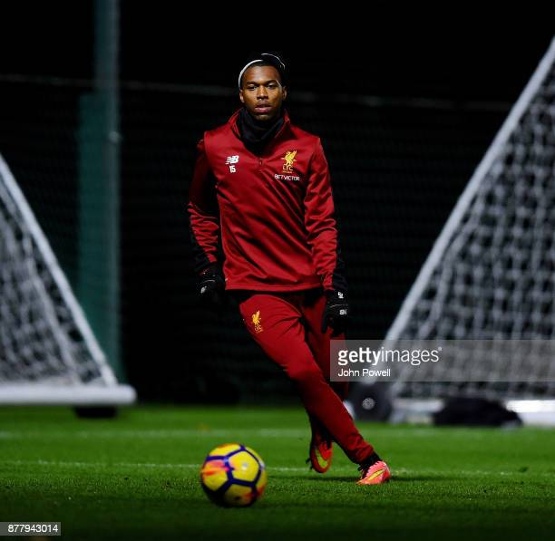 Daniel Sturridge of Liverpool during a training session at Melwood Training Ground on November 23 2017 in Liverpool England